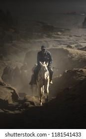 Horseman in Mount Bromo
