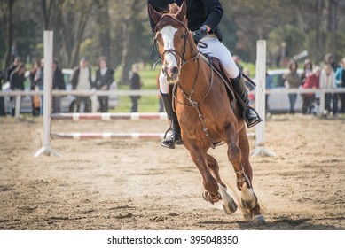 A horseman riding during equestrian competition