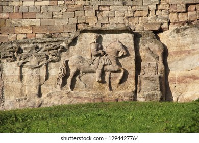 Horseman-relief from the Baroque Stone Album in the famous vineyard Blütengrund in Grossjena in Germany, created in 1722