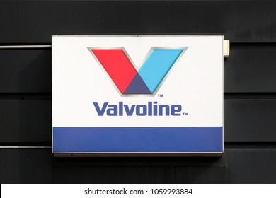 Horsens, Denmark - April 1, 2018: Valvoline logo on a wall. Valvoline are international suppliers of lubricants, chemicals and car care including car and motorcycle engine oils