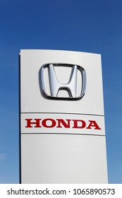 Horsens, Denmark - April 2, 2018: Honda logo on a panel. Honda is a Japanese public multinational corporation primarily known as a manufacturer of automobiles, motorcycles and power equipment
