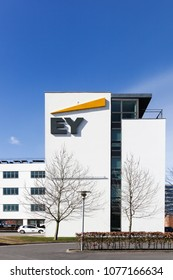 Horsens, Denmark - April 2, 2018: Ernst & Young offices building. Ernst & Young also called EY is one of the largest professional services firm in the world and is one of the Big Four accounting firm