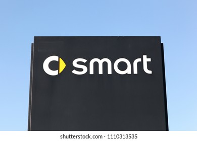 Horsens, Denmark - April 21, 2018: Smart logo on a panel. Smart Automobile is a division of Daimler that manufactures and markets the Smart Fortwo and Smart Forfour