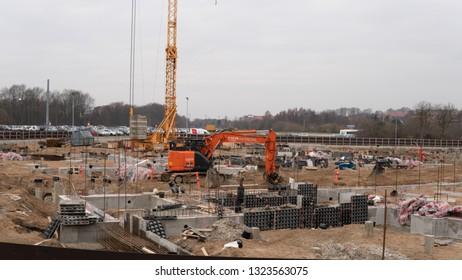HORSENS, DENMARK - FEBRUARY 16, 2019:  Construction Of  The New VIA Campus In The Center Of Horsens, February 16, Horsens, Denmark.