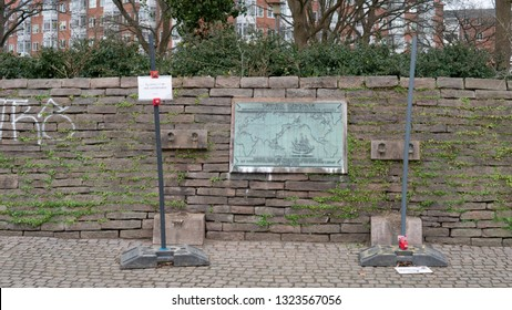 HORSENS, DENMARK - FEBRUARY 16, 2019:  Plaque Of Vitus Bering Without Cannons On February 16, Horsens, Denmark. The Cannons Are At The Taxidermist For Repairs.