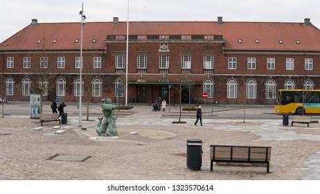 HORSENS, DENMARK - FEBRUARY 16, 2019:  The Railway Station Of Horsens On February 16, Horsens, Denmark.