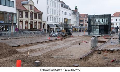 HORSENS, DENMARK - FEBRUARY 8, 2019:  Renovation of the Main Pedestrian Street of Horsens on February 8, Horsens, Denmark.