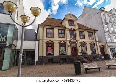 HORSENS, DENMARK - JUNE 11: The building of the old pharmacy in the centre of Horsens, Denmark in 2012