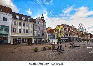HORSENS, DENMARK - JUNE 11: Typical old city houses in the center of Horsens, Denmark in 2012