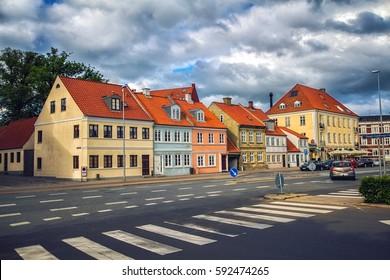 HORSENS, DENMARK - JUNE 11: Typical old city houses in Horsens, Denmark in 2012
