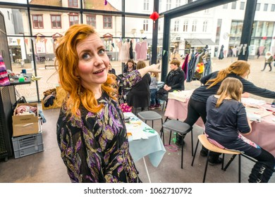 HORSENS, DENMARK - MARCH 10 - 2018: Dolls & Darlings creative workshop in a public area in the middle of Horsens city