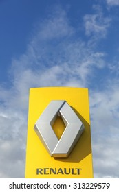 Horsens, Denmark - September 3, 2015: Renault logo. Renault is a french multinational automobile manufacturer established in 1899. The company produces a range of cars and vans.