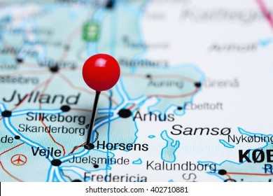 Horsens pinned on a map of Denmark