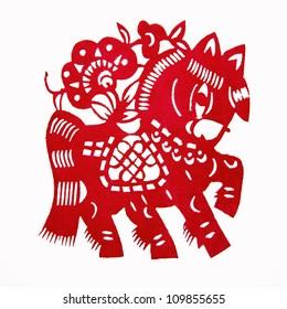 Horse,paper cutting Chinese Zodiac
