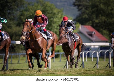 Horseraces in Europe, Czechia. Jockeys on their horses.