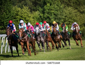 Horseracing in Czechia, Europe. Traditional sport. Jockeys on horses.