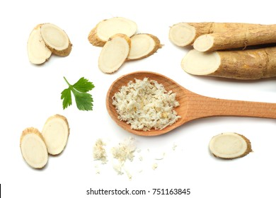 horseradish root with parsley isolated on white background