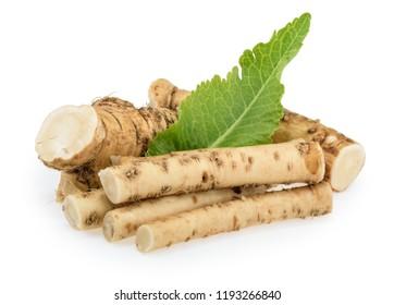 Horseradish roots isolated on white background