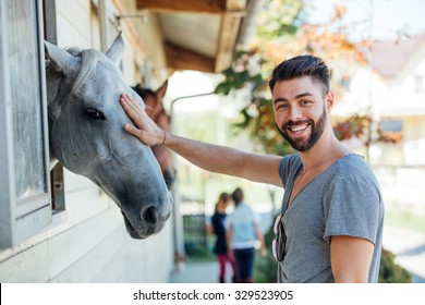 Horses in stable looking outside