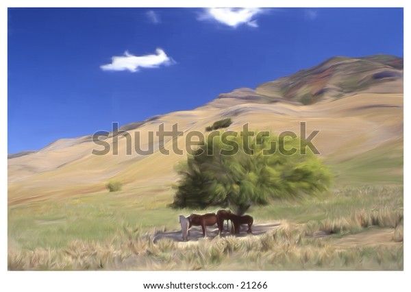 horses standing under a tree
