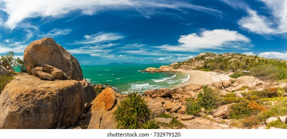 Horseshoe Bay at Bowen - iconic beach with granite climbing rocks, north Queensland, Australia
