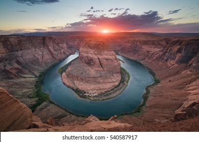 Horseshoe Bend cloudy sunset