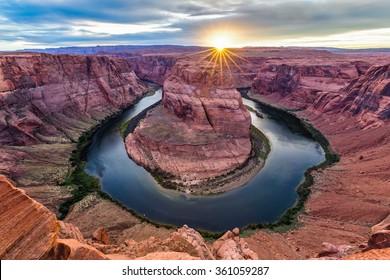 Horseshoe Bend at dusk, Arizona, USA