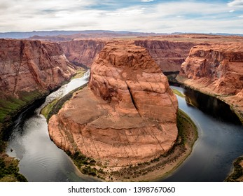 HORSESHOE BEND, USA - APRIL 15, 2019: Popular nature geographical tourist attraction near grand canyon Page Arizona