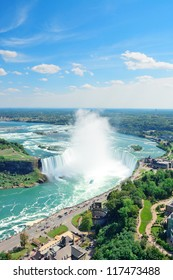 Horseshoe Falls aerial view in the day with mist from Niagara Falls
