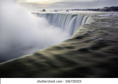 Horseshoe Falls in January from Table Rock, Niagara Falls, Ontario, Canada.