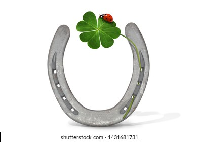 Horseshoe, ladybird and cloverleaf as lucky charm