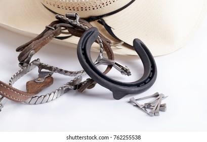 HorseShoe rusty steel isolated on white