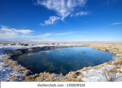 Horseshoe springs in winter, Horseshoe Springs Wildlife Management Area, Tooele county, Utah