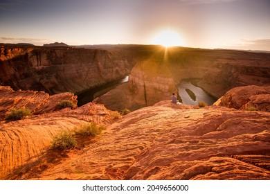 HorseshoeBend in Utah  with sun