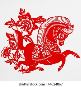 horse,This is a picture of the Chinese paper cutting. Paper-cutting is one of the traditional Chinese arts and crafts.