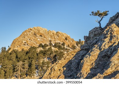 Horsetooth Rock - a landmark of Fort Collins in northern Colorado, winter scenery with traces of snow