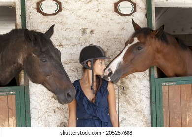 horsewoman with his horses