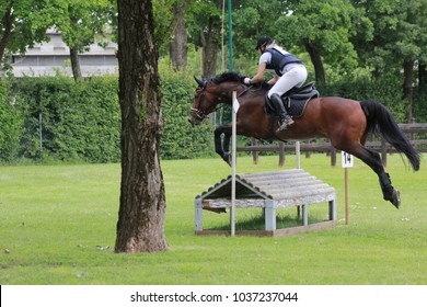 horsewoman jumping competition