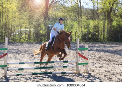 Horsewoman is jumping over obstacle outdoors