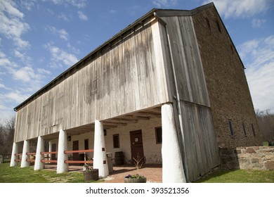 Horsham, Montgomery County, Pa. USA, March 20, 2016: Graeme Park colonial farm stable entrance. March 20, 2016 in Horsham, Pa. USA