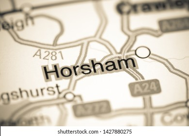 Horsham. United Kingdom on a map