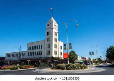 Horsham, Victoria, Australia - March 4, 2017. Exterior view of historic T&G Building in Horsham, VIC, across a roundabout.