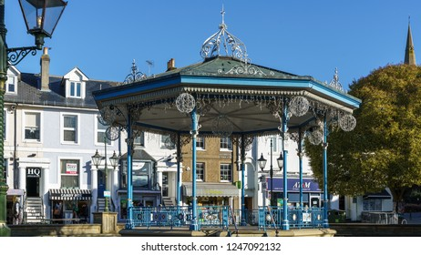 HORSHAM WEST SUSSEX/UK - NOVEMBER 30 : View of the bandstand in Horsham West Sussex on  November 30, 2018. Four unidentified people