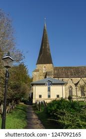 HORSHAM WEST SUSSEX/UK - NOVEMBER 30 : Exterior view of St Mary the Virgin parish church in Horsham West Sussex on  November 30, 2018