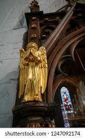HORSHAM WEST SUSSEX/UK - NOVEMBER 30 : Golden Angel in St Mary the Virgin parish church  Horsham West Sussex on  November 30, 2018