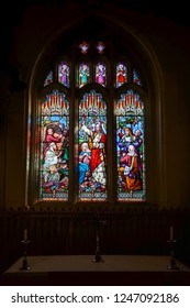 HORSHAM WEST SUSSEX/UK - NOVEMBER 30 : Stained glass window in St Mary the Virgin parish church  Horsham West Sussex on  November 30, 2018