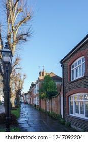 HORSHAM WEST SUSSEX/UK - NOVEMBER 30 : View towards the town centre in Horsham West Sussex on  November 30, 2018. Three unidentified people