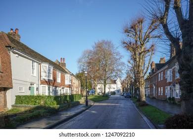 HORSHAM WEST SUSSEX/UK - NOVEMBER 30 : View towards the town centre in Horsham West Sussex on  November 30, 2018. Unidentified people