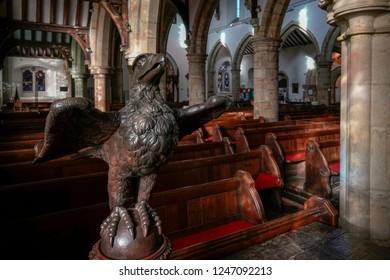 HORSHAM WEST SUSSEX/UK - NOVEMBER 30 : Eagle lectern in St Mary the Virgin parish church  Horsham West Sussex on  November 30, 2018