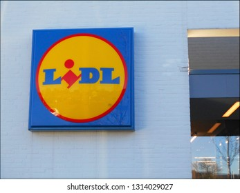 Horst, The Netherlands - 02/15/2019 : View of facade of Lidl supermarket with large logo